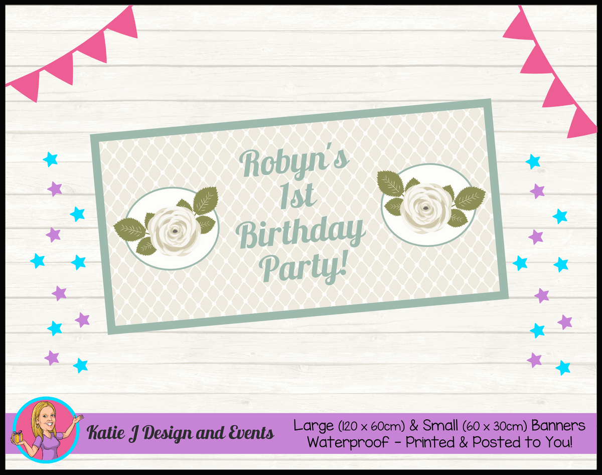 Personalised Sage Rose Birthday Party Banner