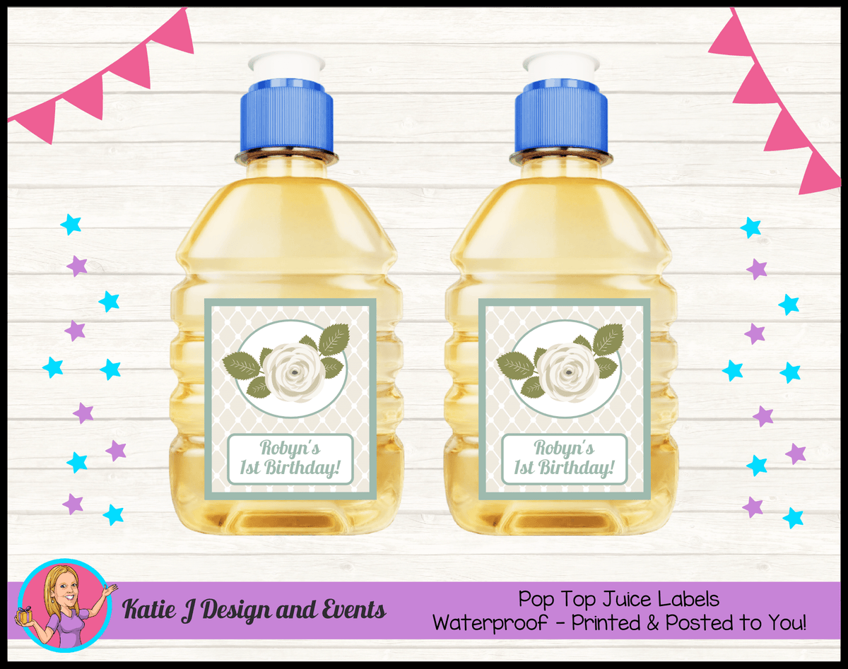 Sage Floral Rose Personalised Birthday Party Pop Top Juice Labels