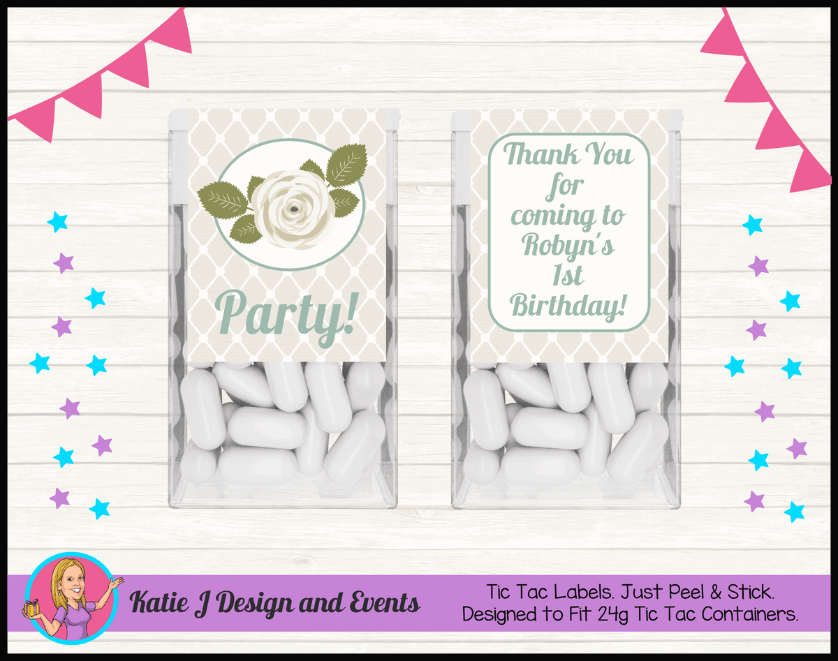 Sage Floral Rose Personalised Birthday Party Tic Tacs Mint Labels