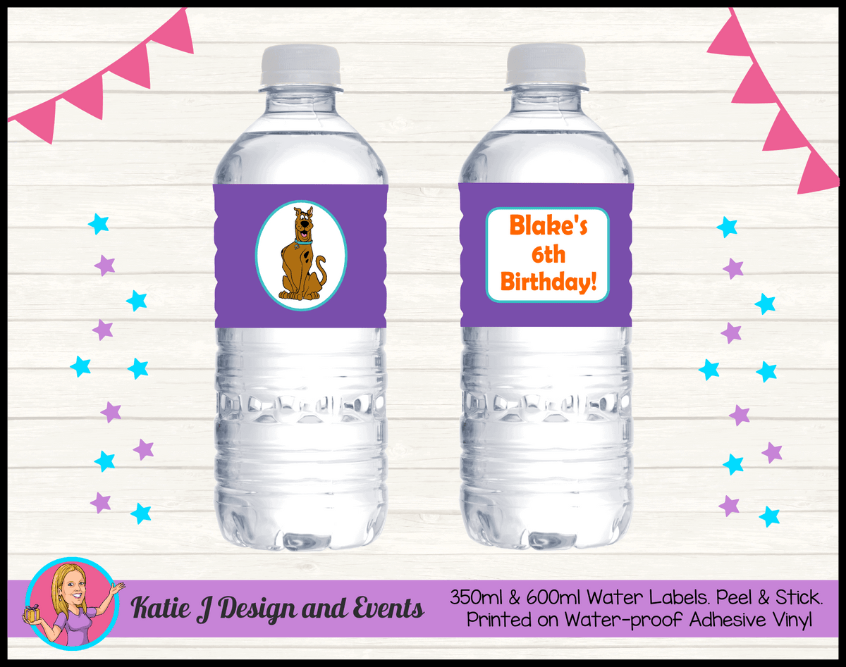 Personalised Scooby Doo Party Water Labels