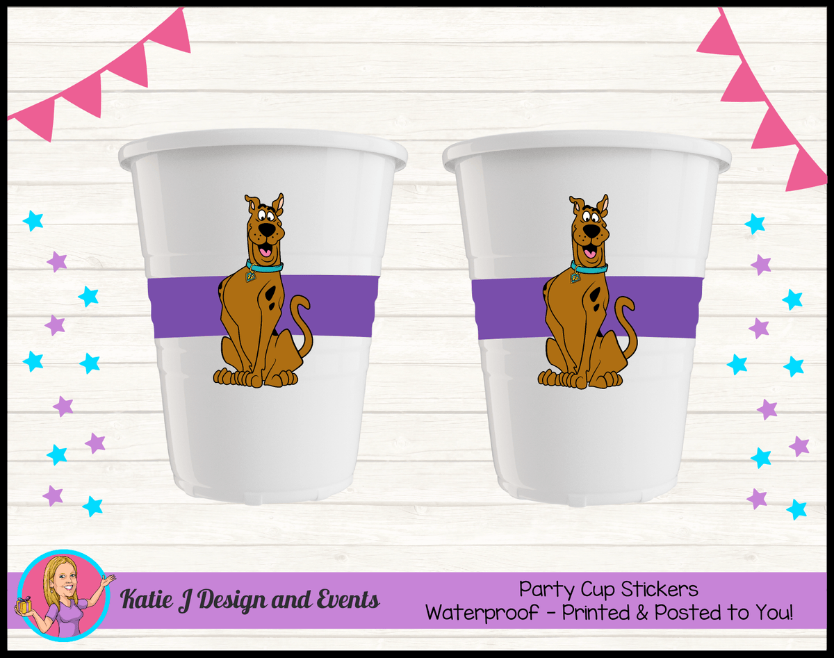 Personalised Scooby Doo Party Cup Stickers Cups