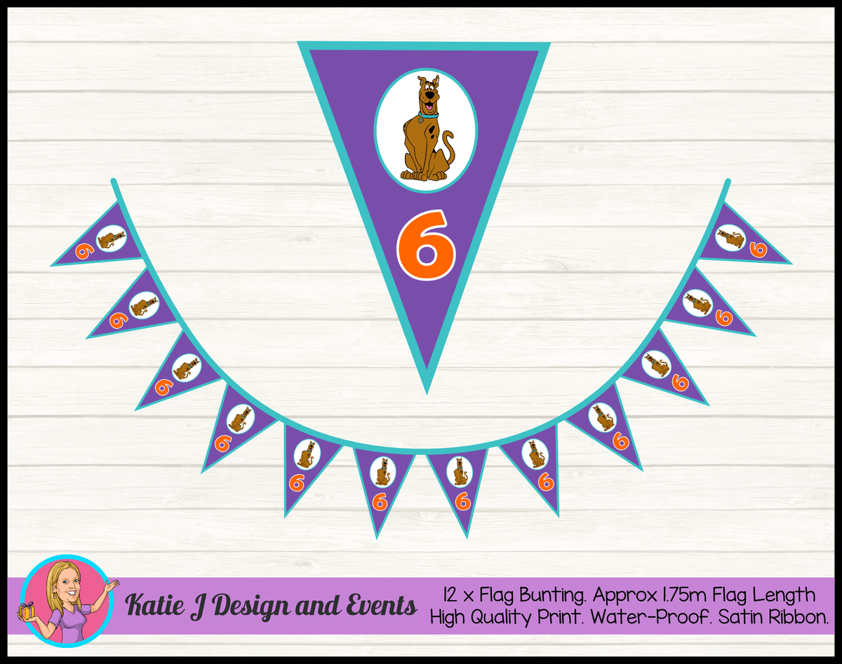 Personalised Scooby Doo Birthday Party Flag Bunting