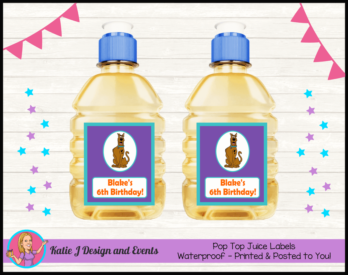 Personalised Scooby Doo Pop Top Juice Labels