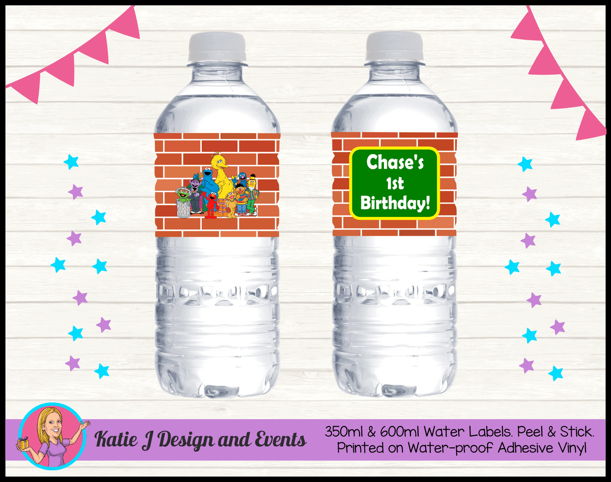 Personalised Sesame Street Birthday Water labels