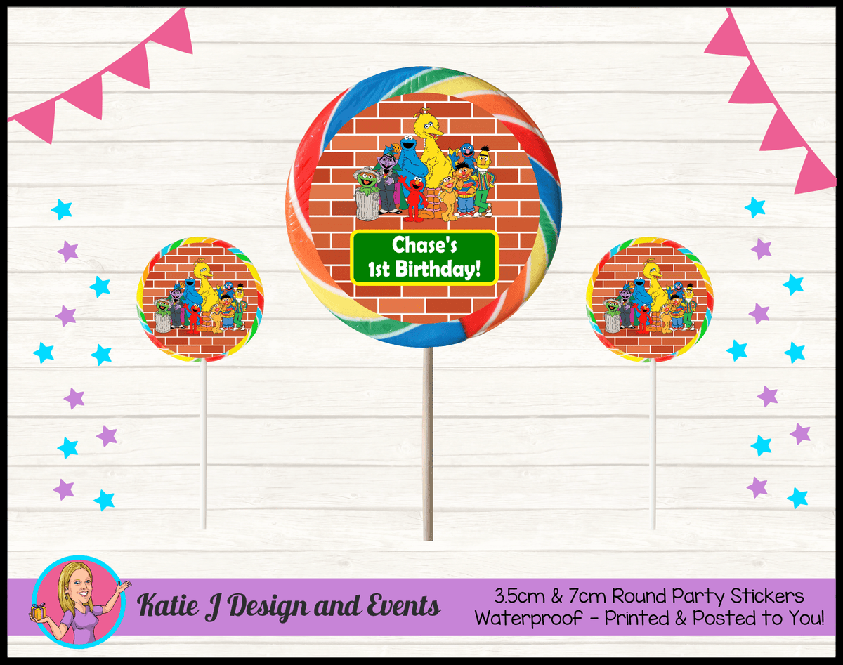 Personalised Sesame Street Round Lollipop Stickers