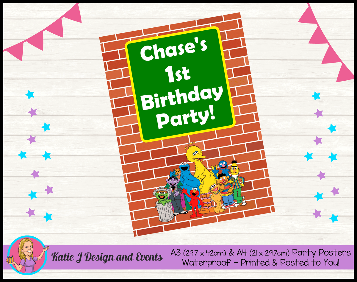 Personalised Sesame Street Birthday Party Poster