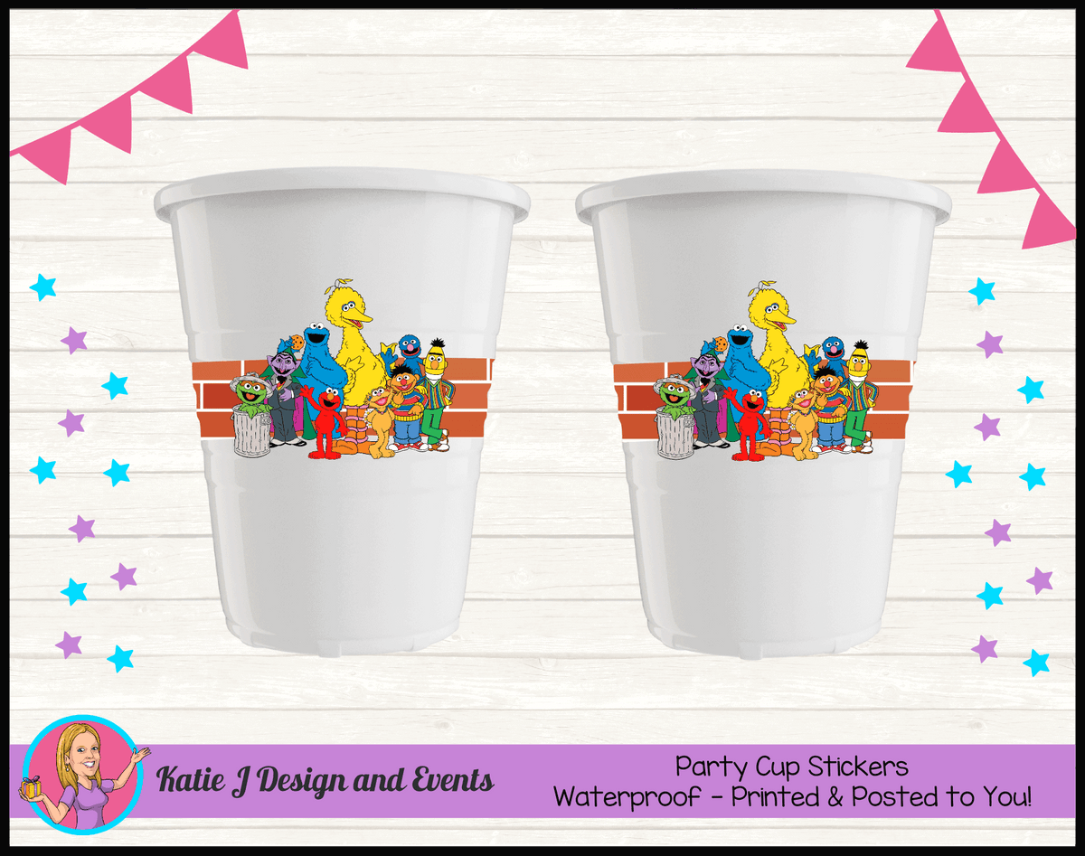 Personalised Sesame Street Party Cup Stickers Cups