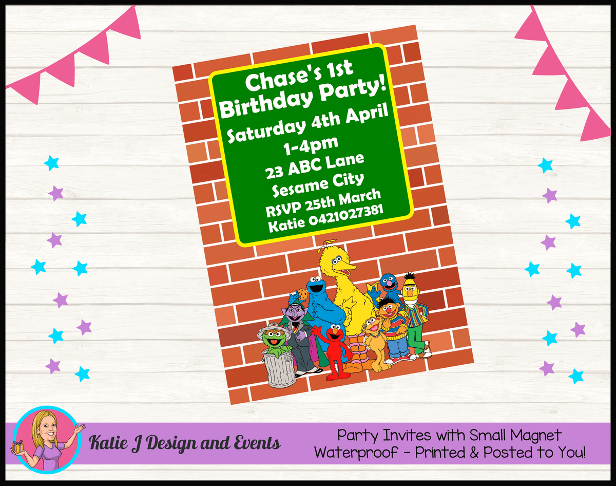 Personalised Sesame Street Birthday Party Invites Invitations