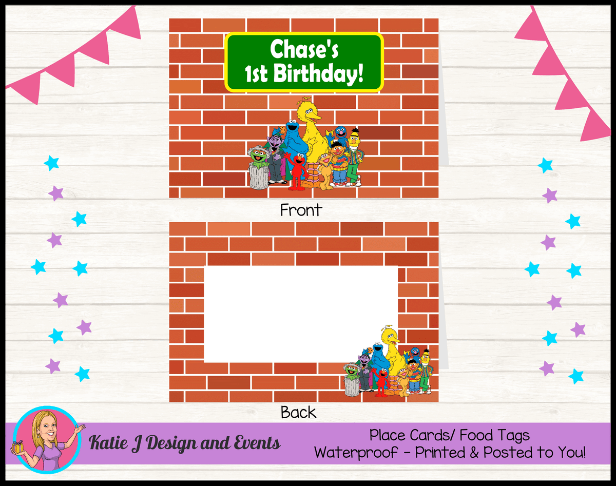 Personalised Sesame Street Party Place Cards