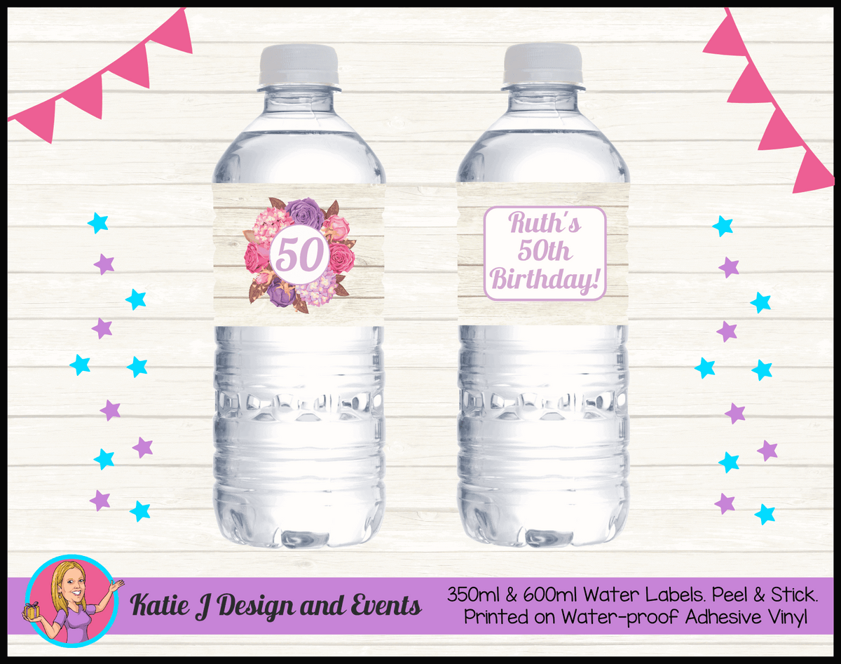 Personalised Shabby Chic Floral Birthday Water Labels