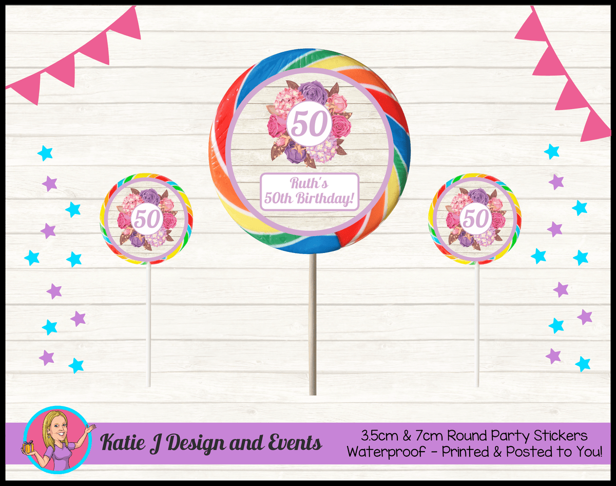 Personalised Shabby Chic Floral Birthday Round Lollipop Stickers