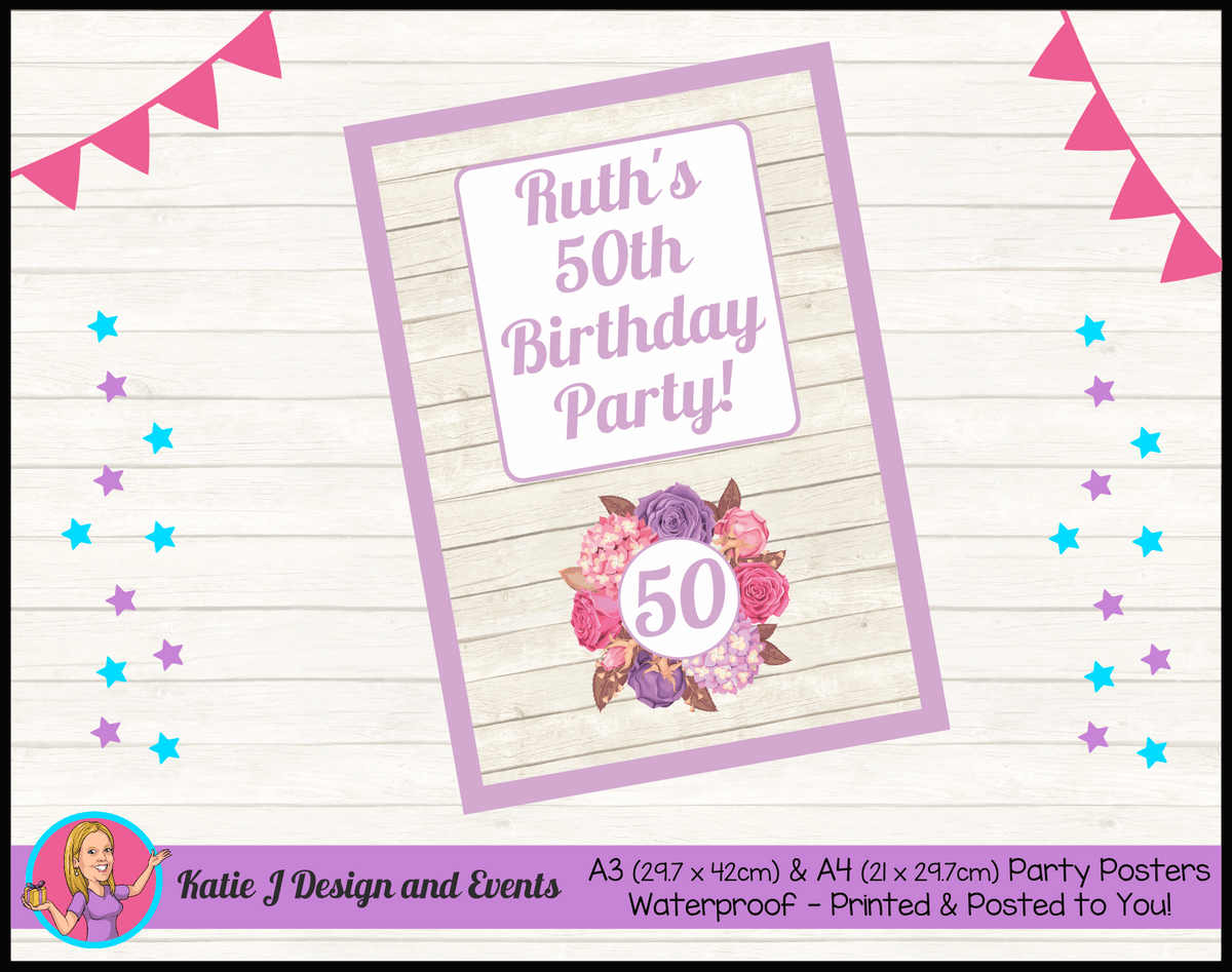 Personalised Shabby Chic Floral Birthday Party Poster