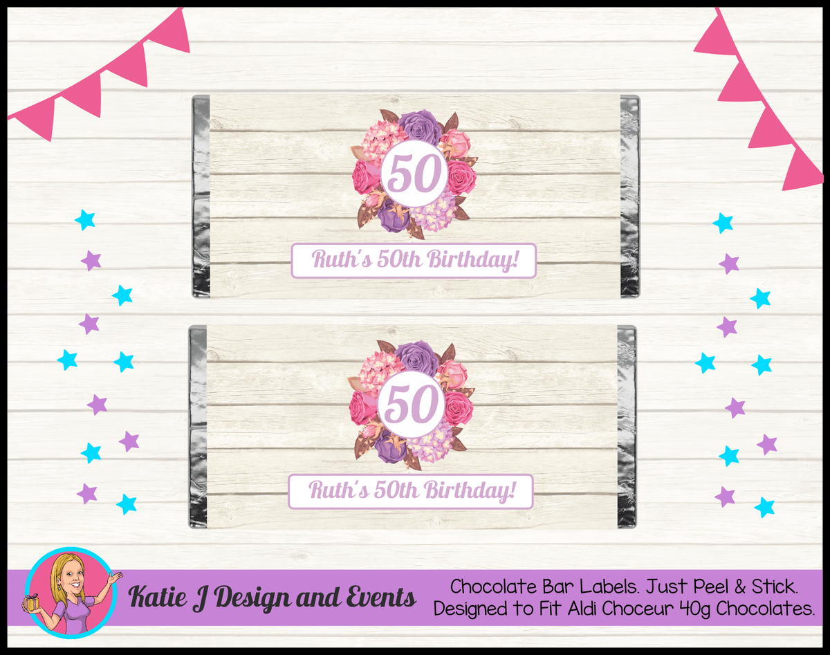 Personalised Shabby Chic Floral Birthday Party Chocolate Labels Wrappers