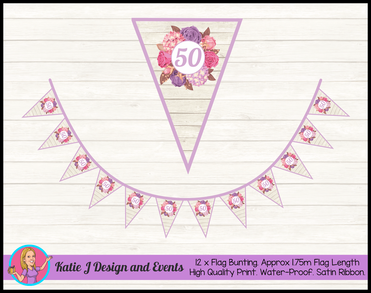 Personalised Shabby Chic Floral Birthday Party Flag Bunting