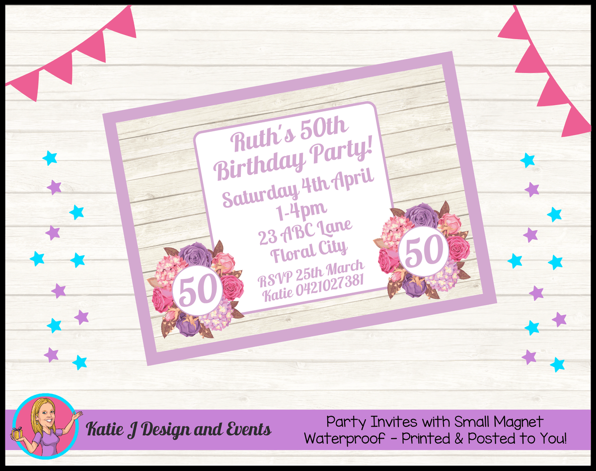 Personalised Shabby Chic Floral Birthday Party Invites Invitations