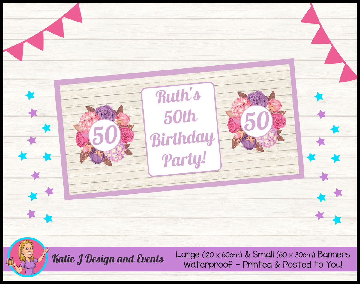 Personalised Shabby Chic Floral Birthday Party Banner