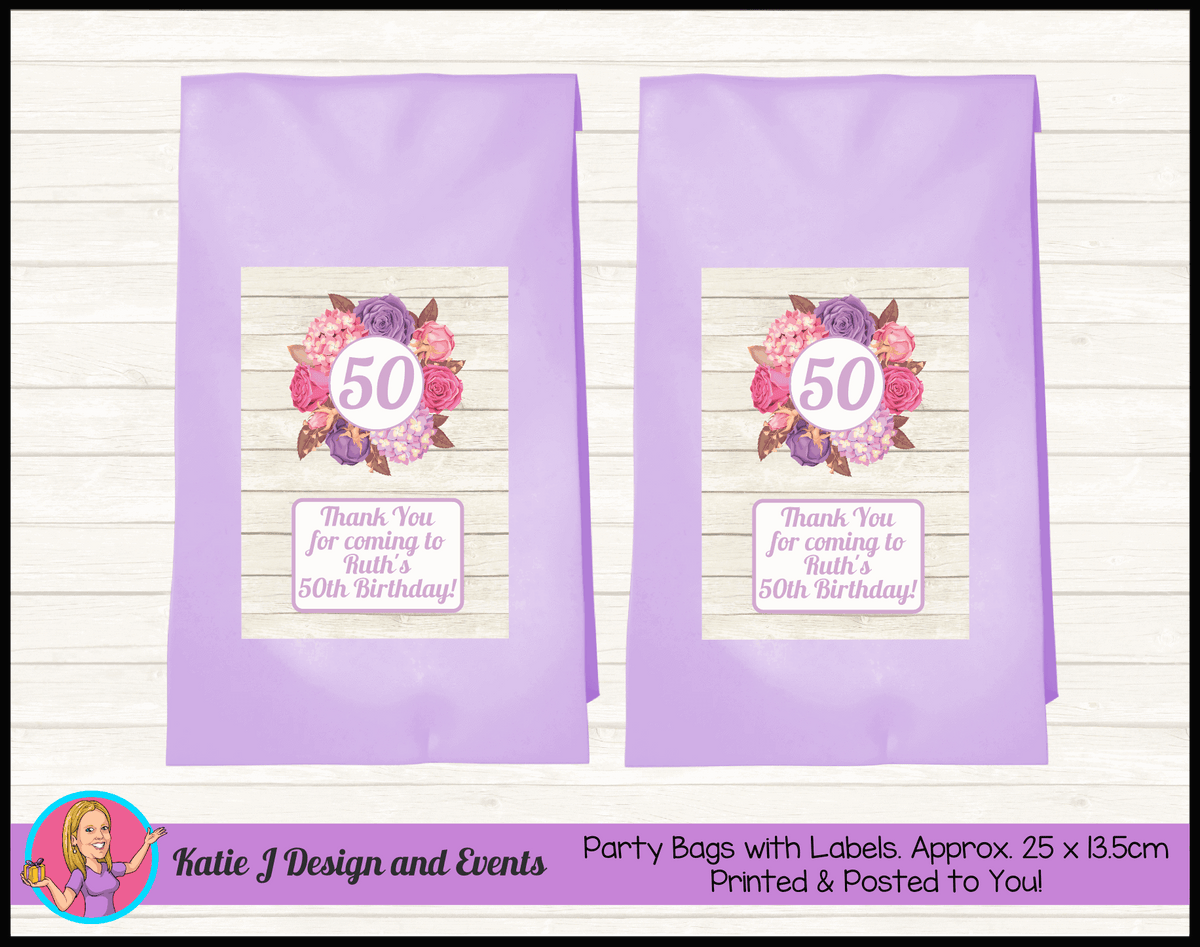 Personalised Shabby Chic Floral Birthday Party Loot Bags