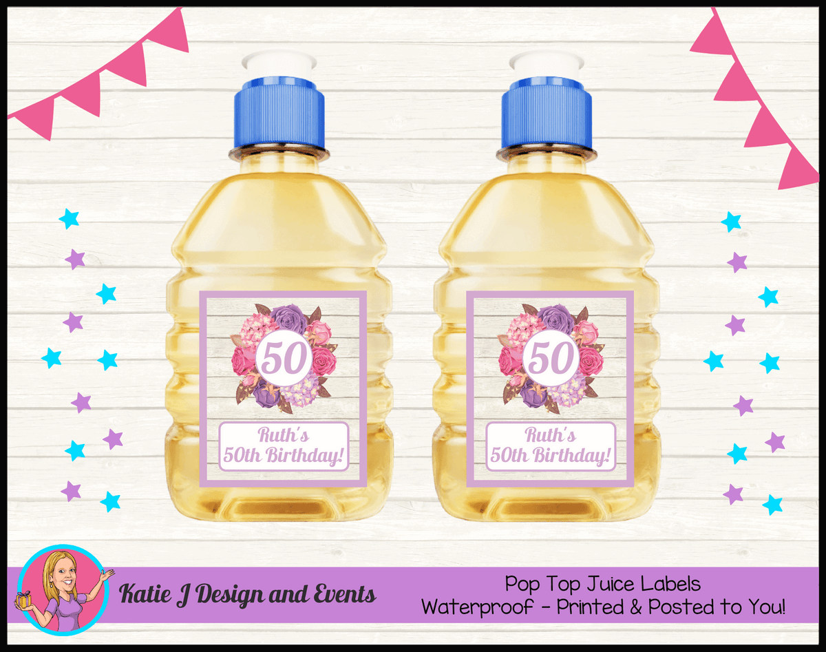 Personalised Shabby Chic Floral Pop Top Juice Labels