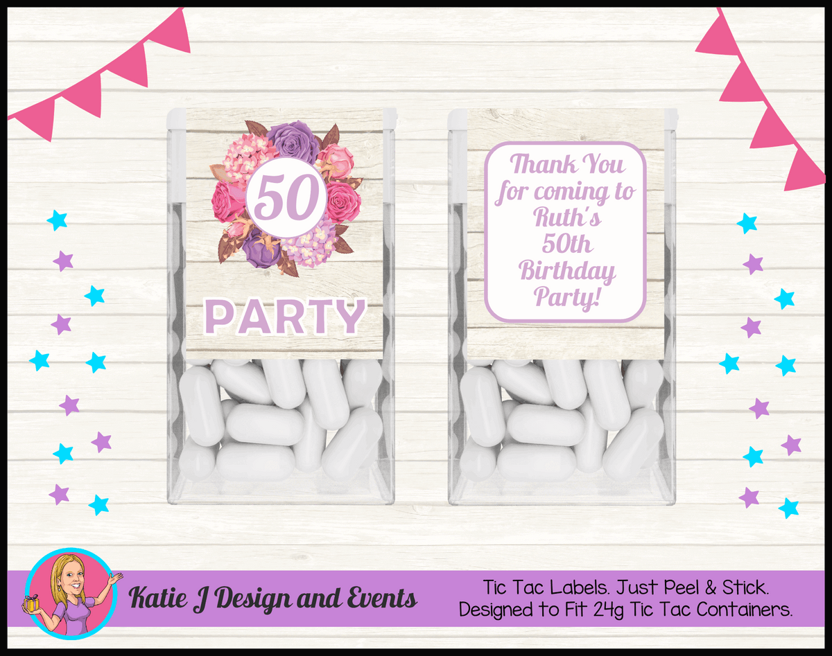 Personalised Shabby Chic Floral Birthday Tic Tac Mint labels