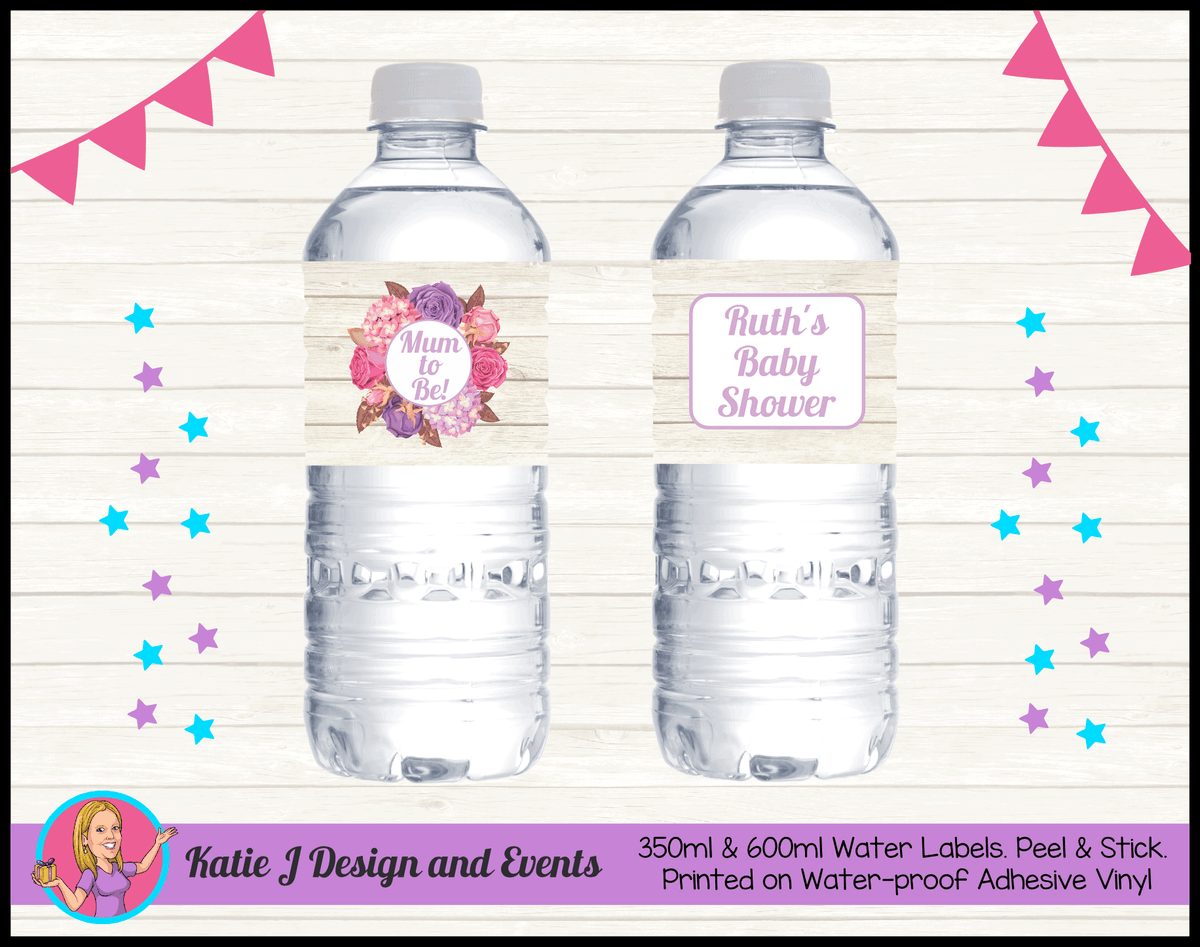 Personalised Shabby Chic Floral Baby Shower Water Labels