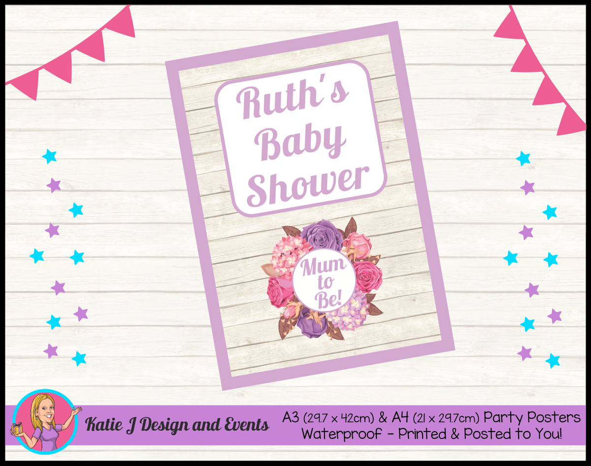 Personalised Shabby Chic Floral Baby Shower Poster