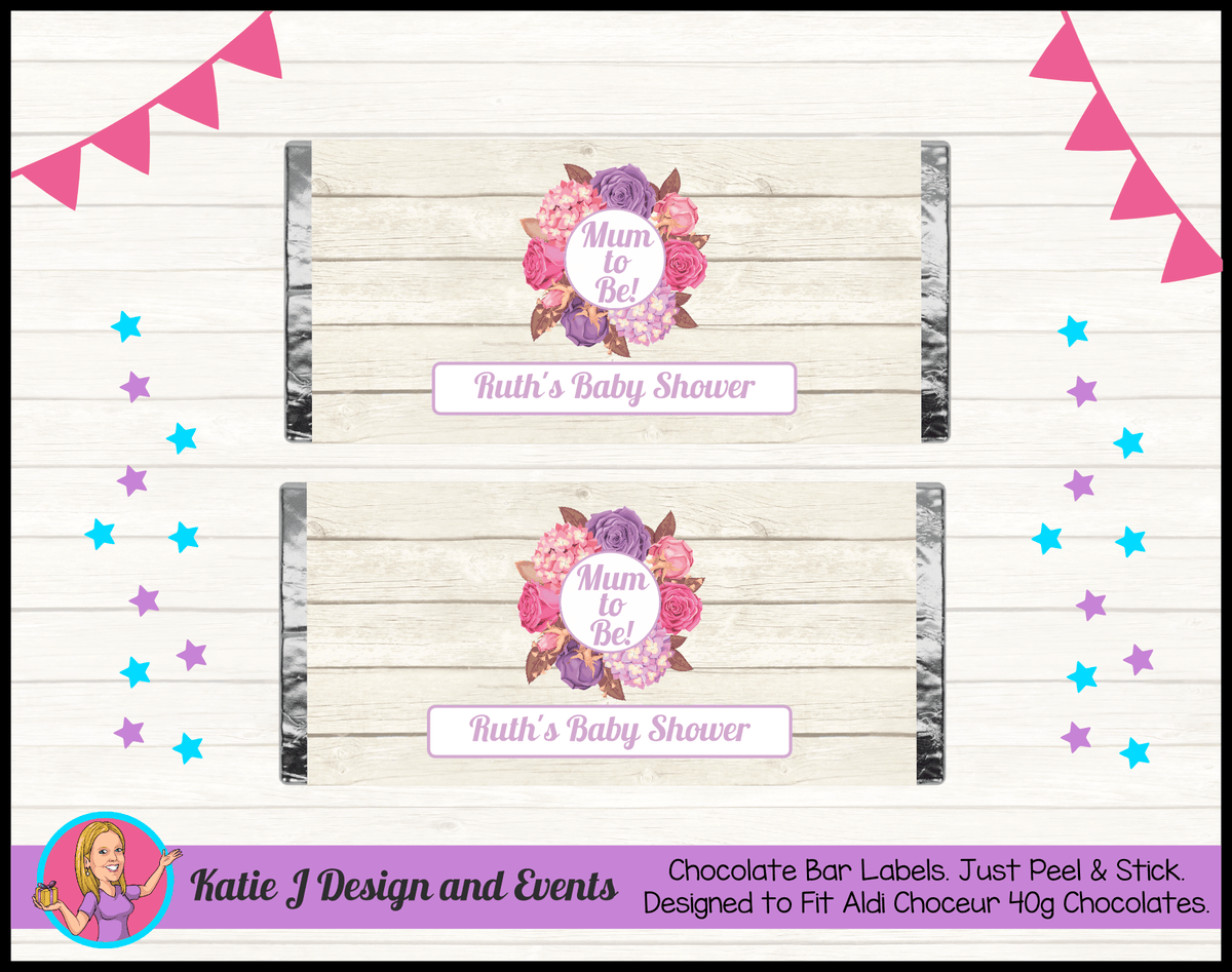 Personalised Shabby Chic Floral Baby Shower Chocolate Labels Wrappers