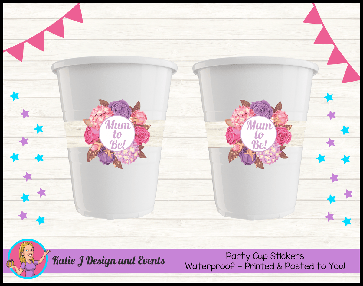 Personalised Shabby Chic Floral Baby Shower Cup Stickers Cups