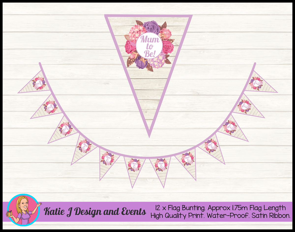 Personalised Shabby Chic Floral Baby Shower Flag Bunting