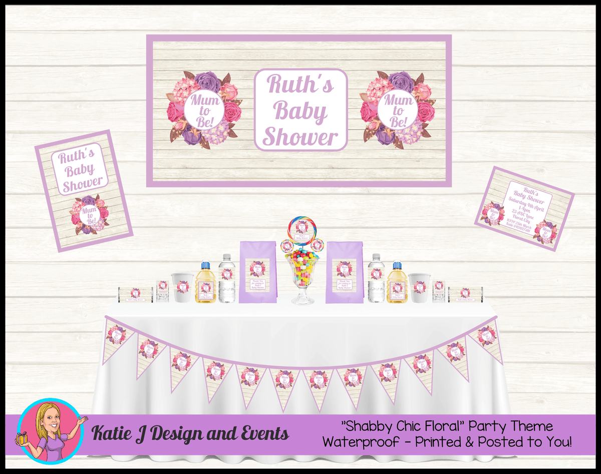 Personalised Shabby Chic Floral Baby Shower Packs Decorations Supplies