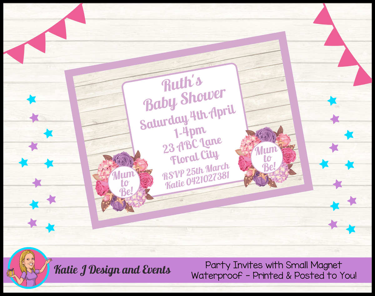 Personalised Shabby Chic Floral Baby Shower Invites Invitations