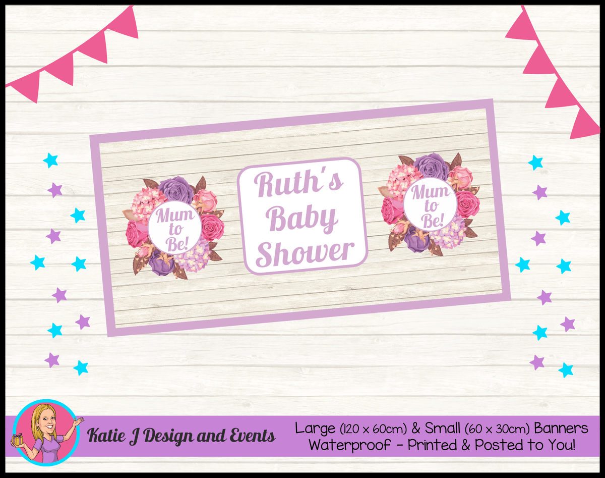 Personalised Shabby Chic Floral Baby Shower Banner