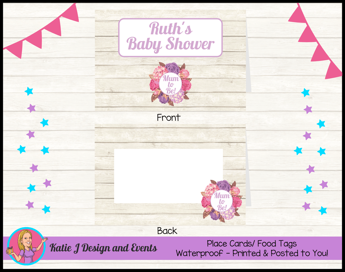 Personalised Shabby Chic Floral Baby Shower Place Cards