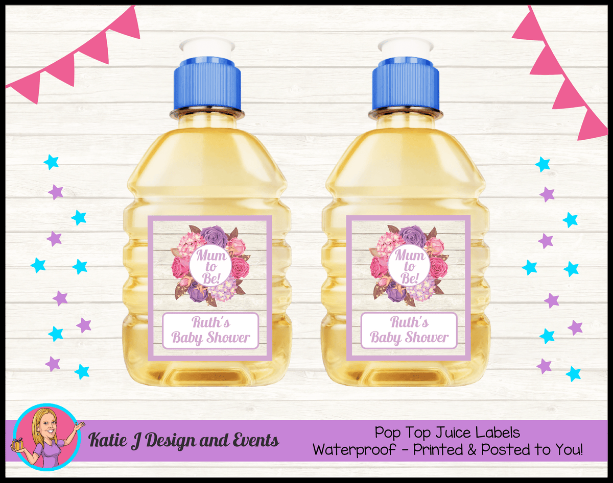 Personalised Shabby Chic Floral Baby Shower Pop Top Juice Labels