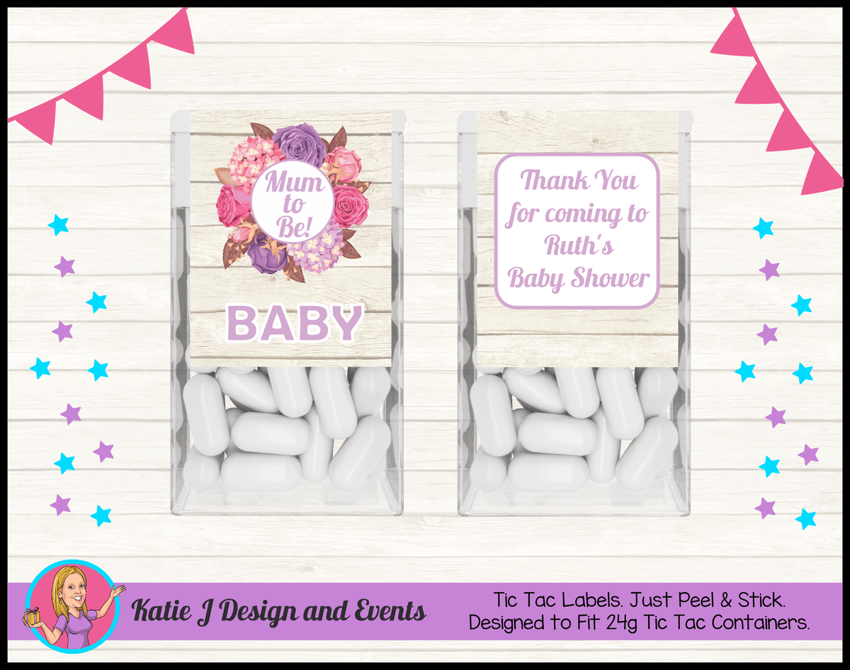 Personalised Shabby Chic Floral Baby Shower Tic Tac Mint labels