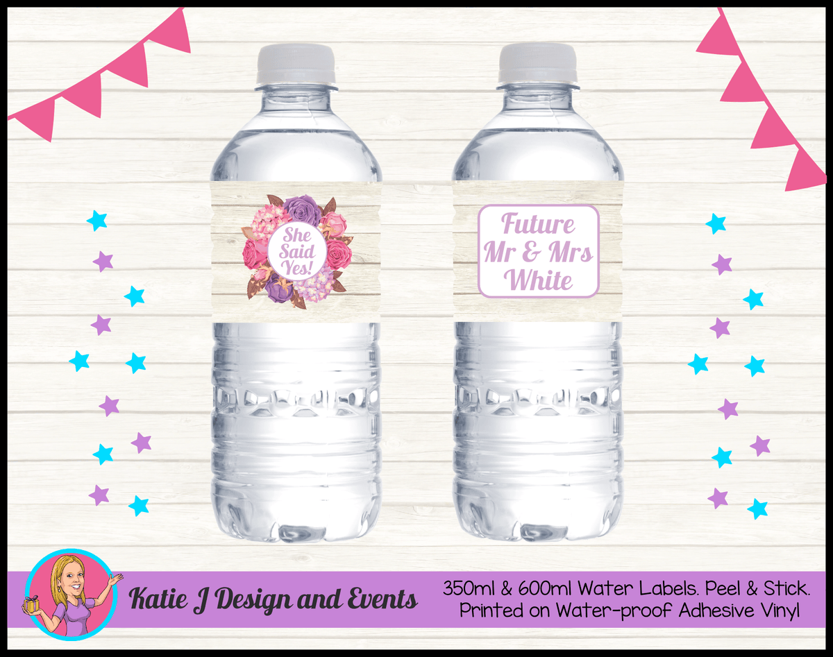 Personalised Shabby Chic Floral Engagement Party Water Labels