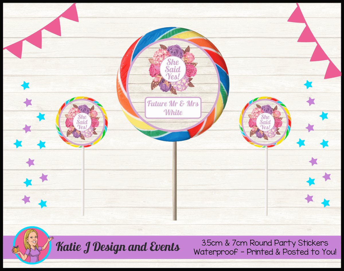Personalised Shabby Chic Floral Engagement Party Round Lollipop Stickers