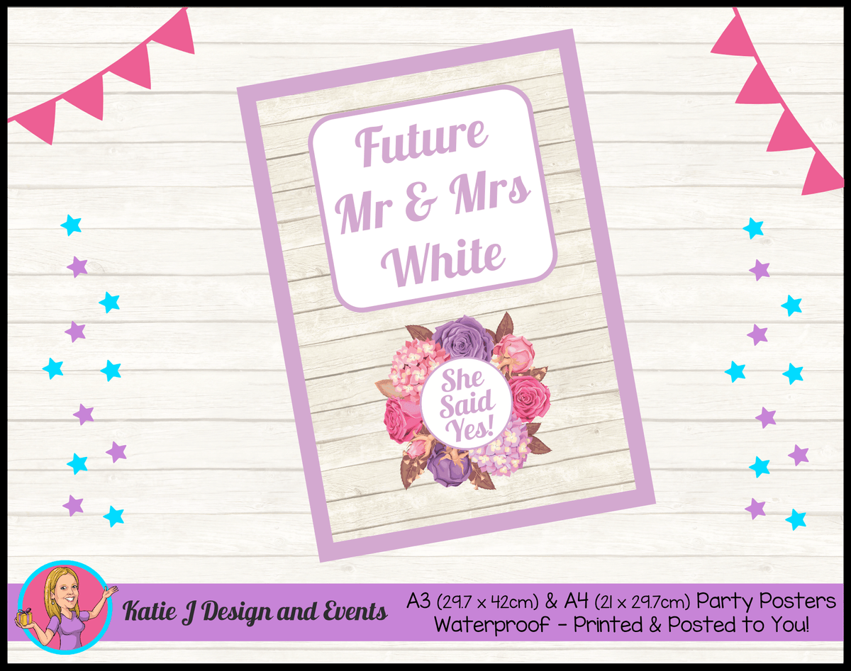 Personalised Shabby Chic Floral Engagement Party Poster