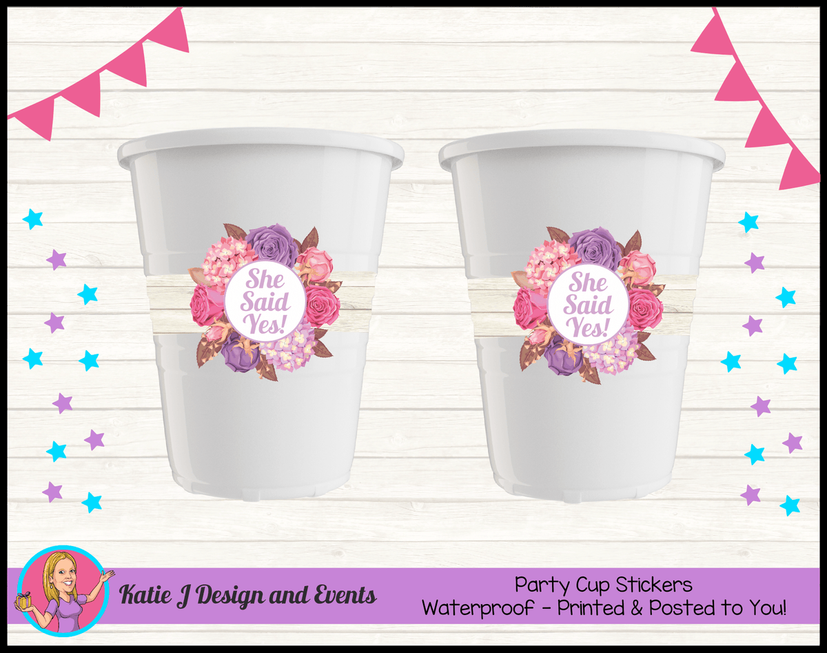 Personalised Shabby Chic Floral Engagement Party Cup Stickers Cups