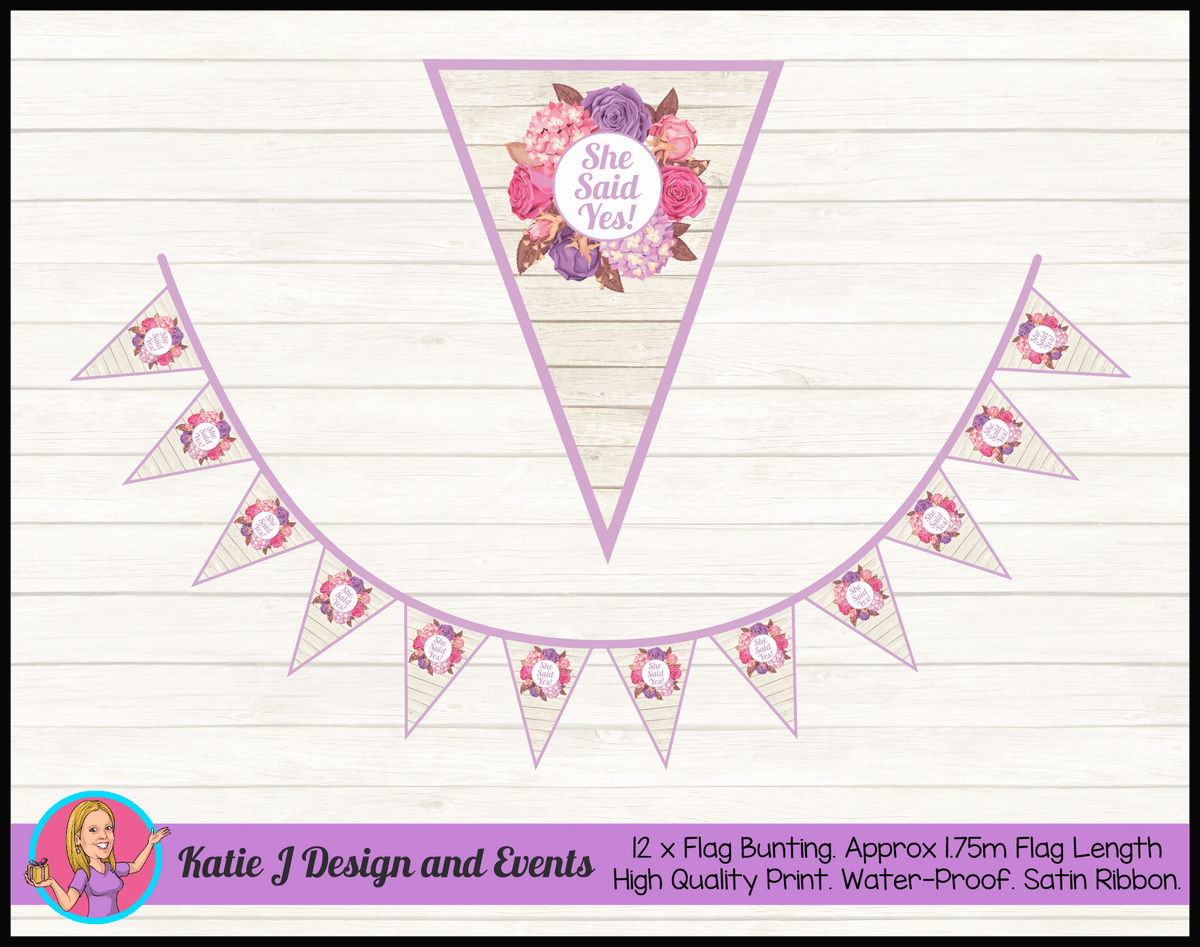 Personalised Shabby Chic Floral Engagement Party Flag Bunting