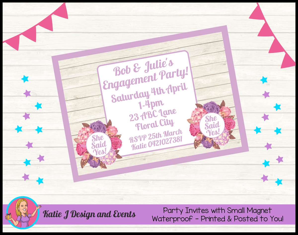 Personalised Shabby Chic Floral Engagement Party Invites Invitations