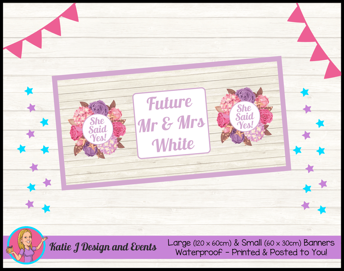 Personalised Shabby Chic Floral Engagement Party Banner
