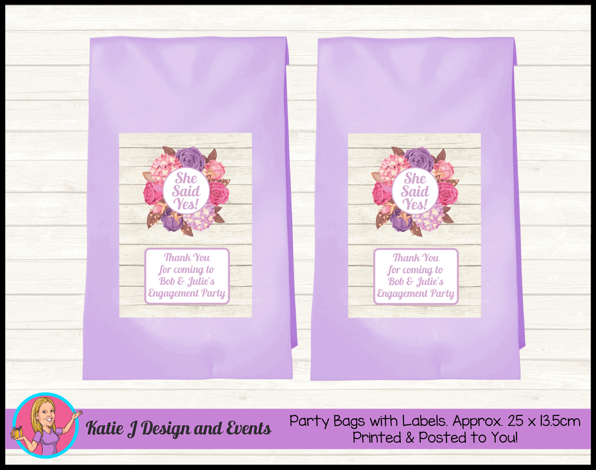 Personalised Shabby Chic Floral Engagement Party Loot Bags