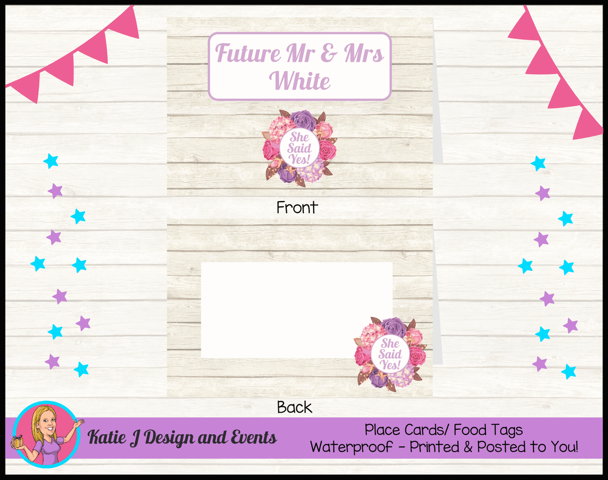 Personalised Shabby Chic Floral Engagement Party Place Cards