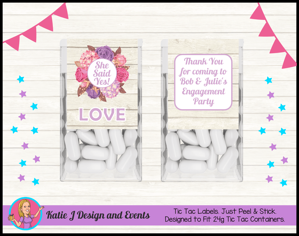 Personalised Shabby Chic Floral Engagement Party Tic Tac Mint labels