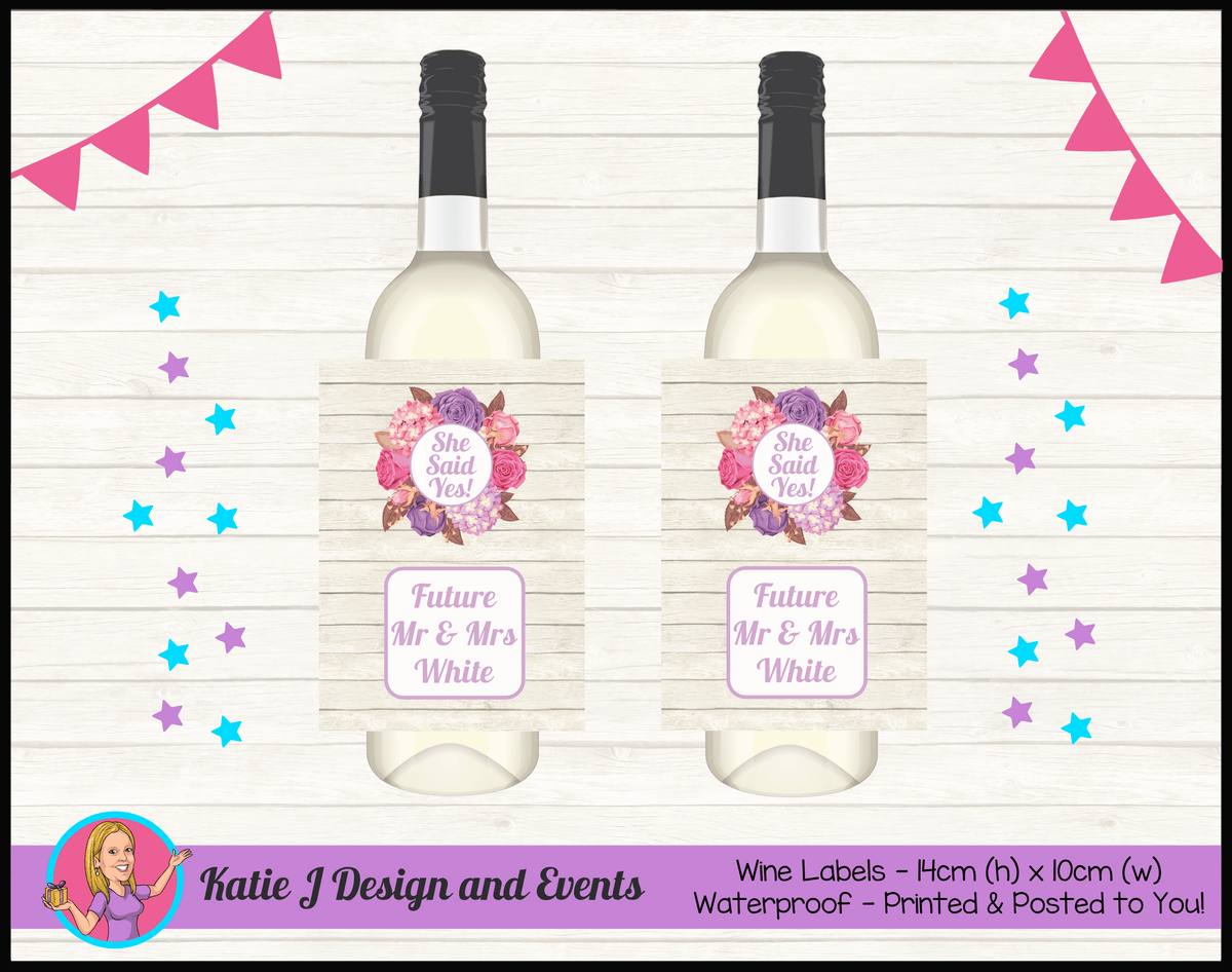 Personalised Shabby Chic Floral Engagement Party Wine Labels