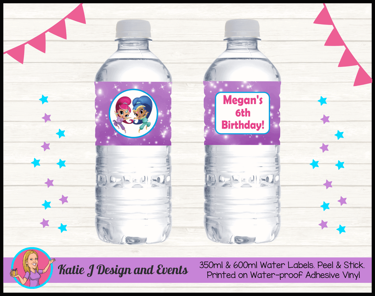 Personalised Shimmer & Shine Party Water Labels