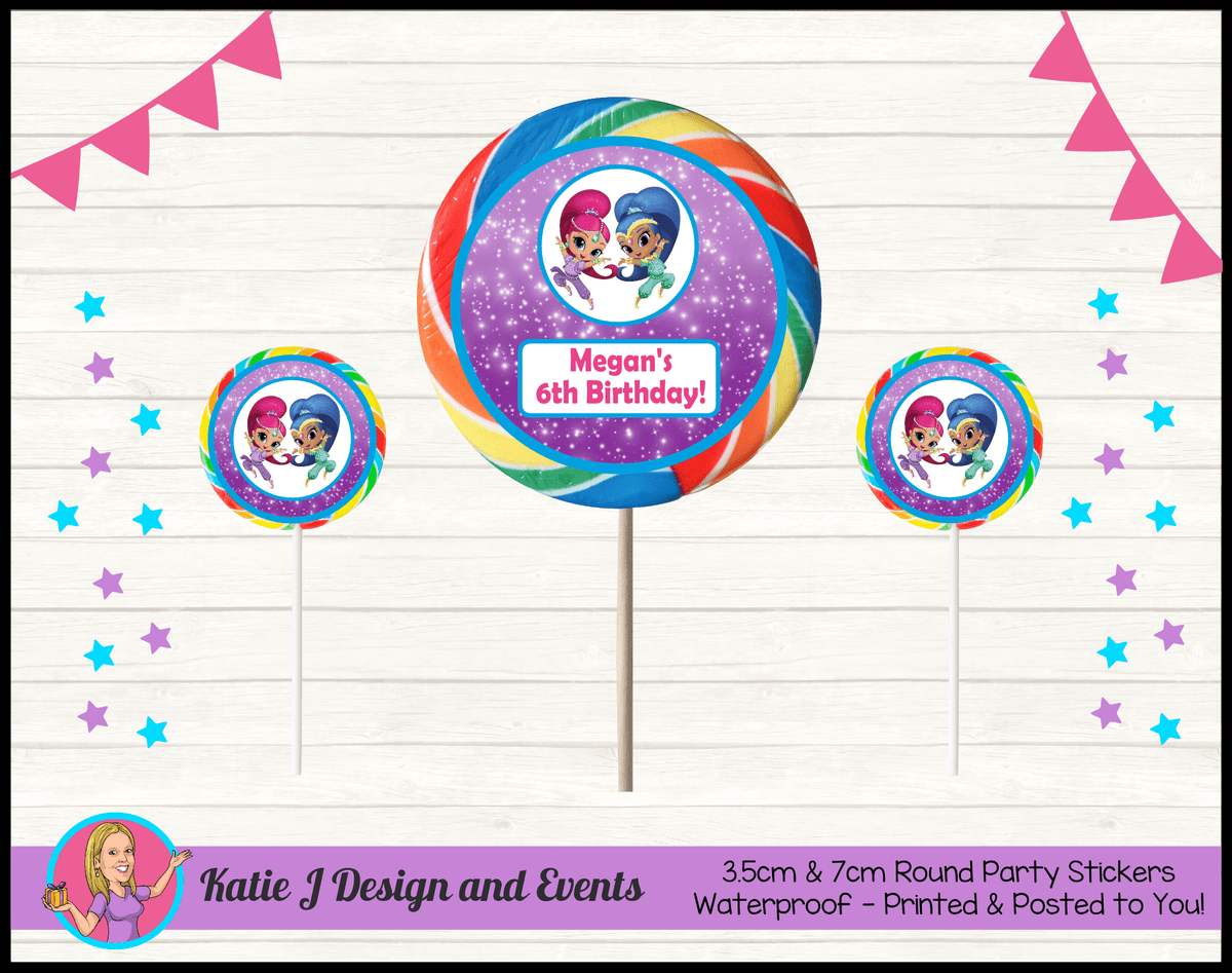 Personalised Shimmer & Shine Round Lollipop Stickers