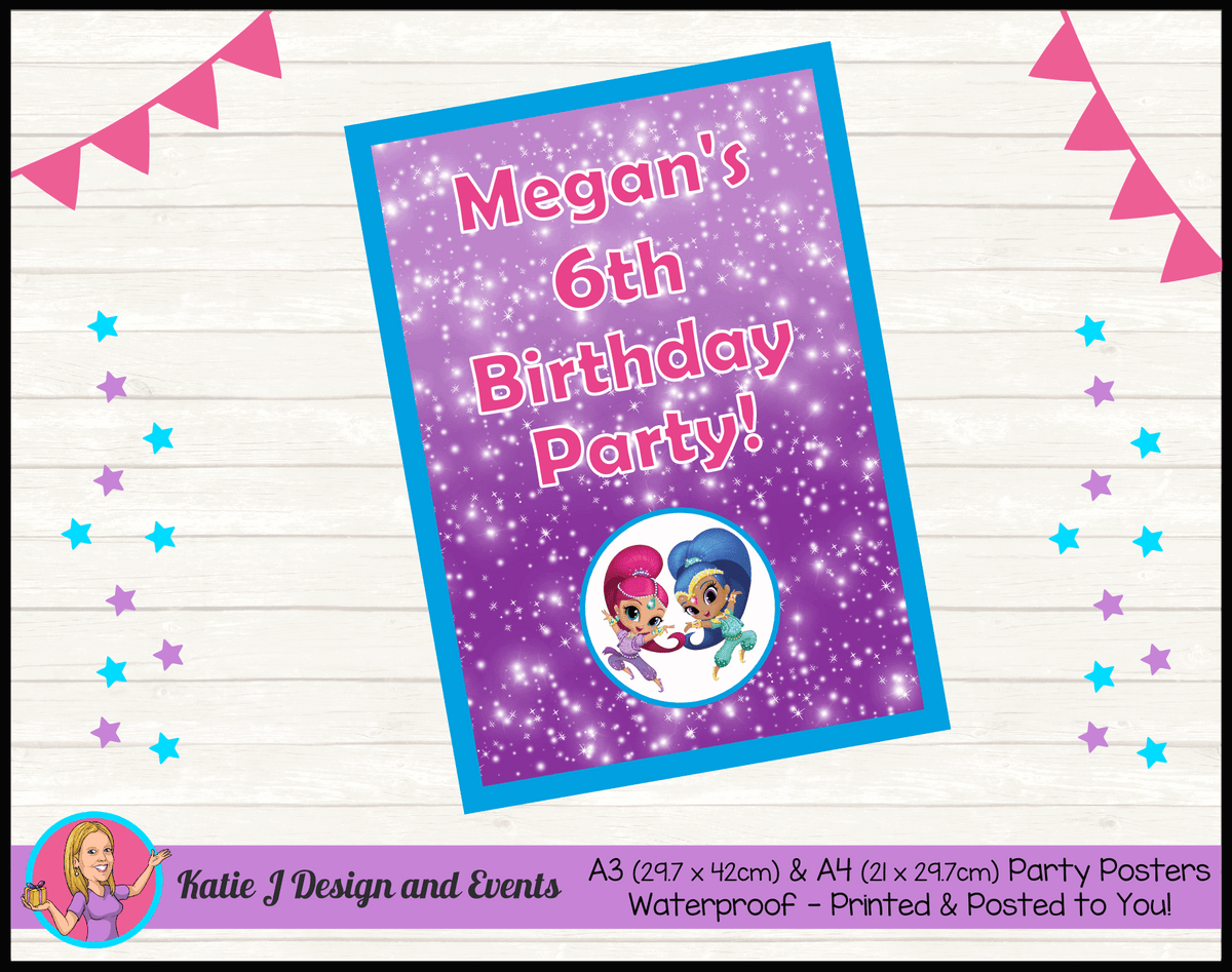 Personalised Shimmer & Shine Birthday Party Poster
