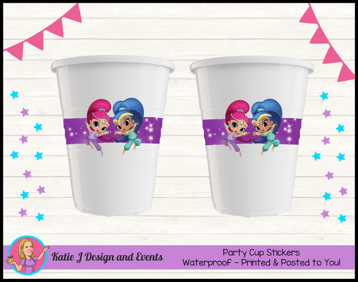 Personalised Shimmer & Shine Party Cup Stickers Cups