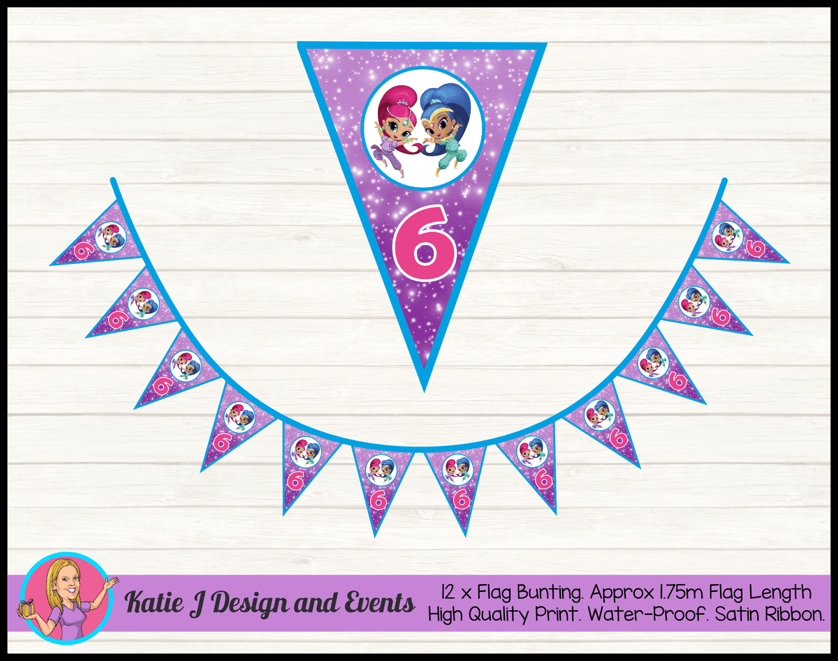 Personalised Shimmer & Shine Birthday Party Flag Bunting